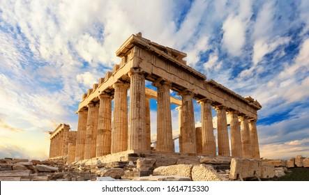 Parthenon temple on a sinset. Acropolis in Athens, Greece. The Parthenon is a temple on the Athenian Acropolis in Greece, dedicated to the goddess Athena.