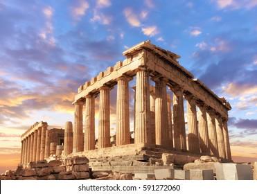 Parthenon-Tempel auf einer Sünde. Akropolis in Athen, Griechenland, Dieses Bild ist tönt.