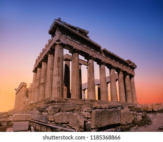 Parthenon temple on a sunset. Acropolis in Athens, Greece