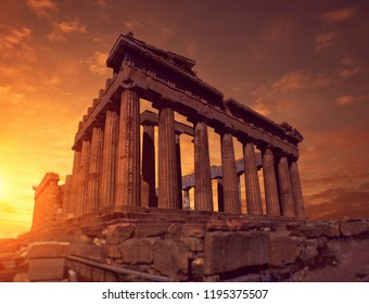 Parthenon temple on a sunset, toned panoramic image Acropolis in Athens