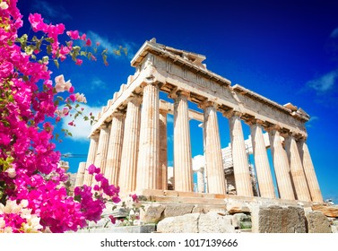Parthenon temple over bright blue sky background, Acropolis hill, Athens Greecer with flowers
