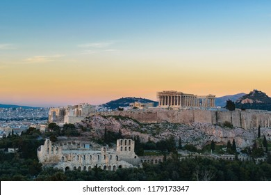 Parthenon temple view from Filopappos, Acropolis Athens