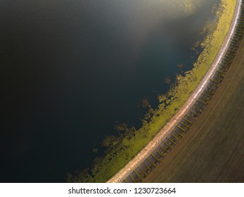 Partial aerial view of a reservoir in the UK