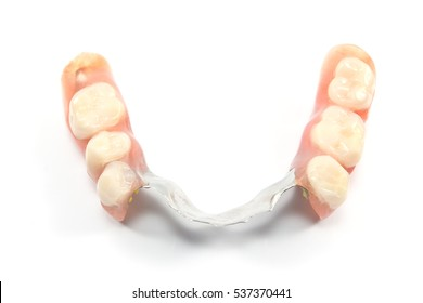 Partial denture upper side - dental prosthetics isolated on white