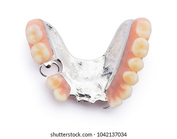 Partial denture upper side. Isolated on white background.