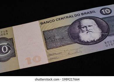 partial face image of an old Brazilian money note, with the figure of Dom Pedro II, the last Brazilian emperor, worth ten Cruzeiros. - Shutterstock ID 1989217664
