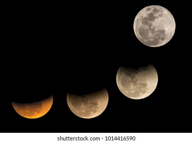 Partial Lunar eclipse visible at Bahrain on 31 January 2018. The eclipse was seen after the moonrise at 17:23