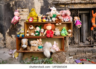 Partial selection of Collection of abandoned stuffed animals in the Yard of Lost Toys, in Lviv Ukraine. August 21, 2019.