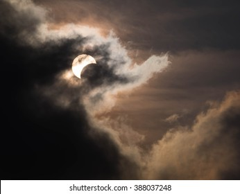 Partial Solar Eclipse on a Cloudy Day 09.03.2016