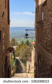Partial view of Assisi and surrounding landscape, Italy