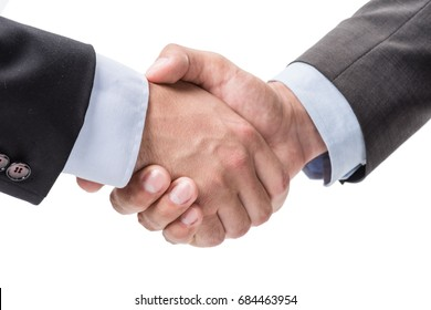 partial view of business people shaking hands isolated on white