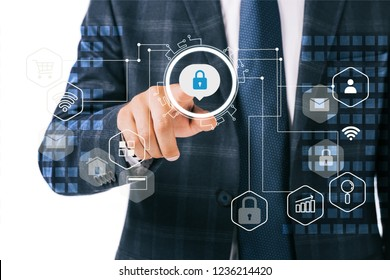 partial view of businessman pointing at cyber security signs isolated on white