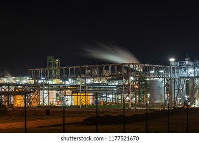 Partial view chemical factory at night