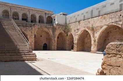 a partial view of the courtyard of the akko acre crusader fortress in the old city of acre in Israel