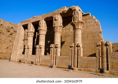 Partial view of Edfu Temple, It is one of the best preserved shrines in Egypt, Dedicated to the falcon god Horus, Was built in the Ptolemaic period between 237 and 57 BC