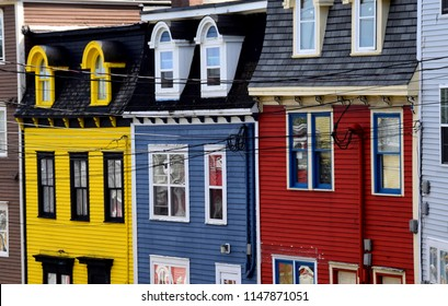 partial view of the facade of colourful row houses, St John's Newfoundland Canada