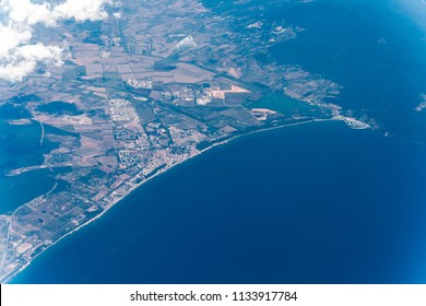 Partial view of the Follonica gulf in Italy seen from above in summer