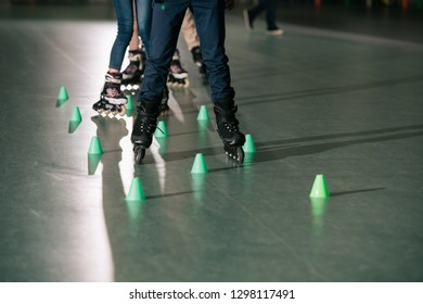 Partial view of kids training on skater rink