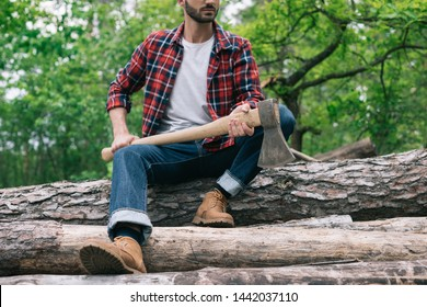 partial view of lumberjack holding ax while sitting on logs in forest and holding ax