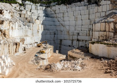 Partial view of a marble quarry in Thassos island