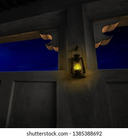A partial view of the night sky from a an arch of arabic architecture. Vintage kerosene oil lantern or Kandil hanging on the wall of old Arabian interior.