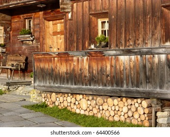 Partial view of an old farmhouse in the Alps