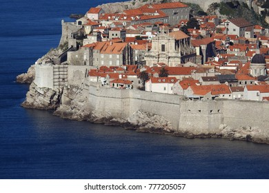 Partial view of the sea fortifications in the historic city of Dubrovnik at the Adriatic coast of Croatia