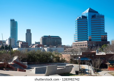 A partial view of the skyline in Durham, North Carolina from downtown.