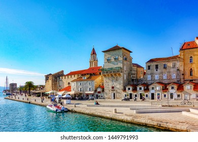 Partial view of the small port of Trogir, one of the best destinations for tourists who want to combine travel, nature, nightlife, historical monuments and beautiful beaches. Dalmatia, Croatia