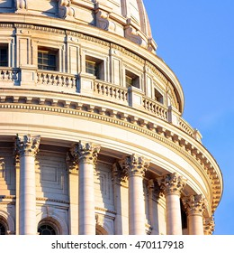 A partial view of the Wisconsin State Capitol dome in Madison.