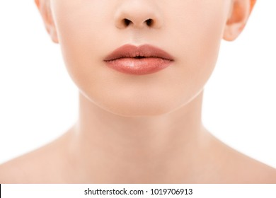 partial view of woman with beautiful lips, isolated on white