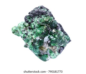 Partially crystallized rough Tsavorite from Tanzania isolated on white background