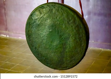 Partially focus image of Gong Beri/an old and sacred music instrument used only for religious rituals only in Surakarta, Indonesia.