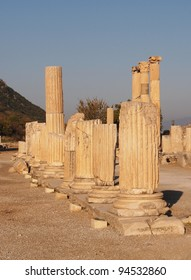Partially restored columns in ancient Ephesus, Turkey
