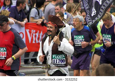 Participant in the London Flora marathon wearing funny costume.