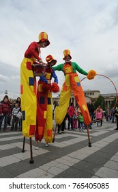 Participants at the 10. International circus festival at April 18, 2014 in Budapest, Hungary.