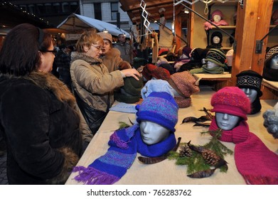 Participant(s) of the christmas market hall at November 11, 2009 in Budapest, Hungary.