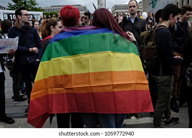 Participants hold rainbow flags as they take part in the annual Belgian LGBT Pride Parade in central Brussels, Belgium on May 20, 2017