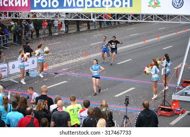 Participants of the international Minsk marathon finish. Belarus, Minsk 13 September 2015