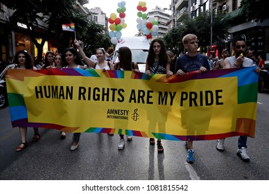 Participants march during the Gay Pride parade in Thessaloniki, Greece on June 20, 2015