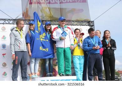 Participants sports. Athletes men and women at the time the Minsk International Marathon. Belarus, Minsk, 13 September 2015