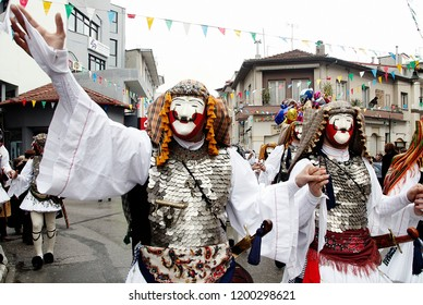 Participants take part in the ancient custom of Genitsari and Boules. A dance-event is the main feature of the famous Carnival of Naoussa in Sunday of Carnival in Greece on Mar. 6, 2011.