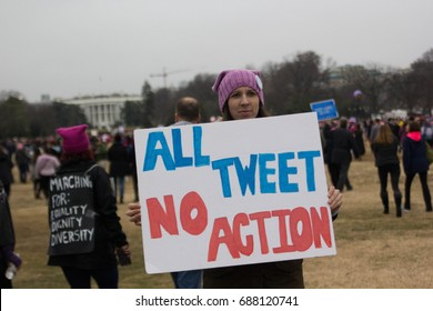 Participants in the Women's March on Washington march in front of the White House in Washington, D.C., Saturday, January 21, 2017.