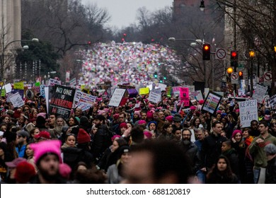 Participants in the Women's March on Washington march through the streets of the nation's capitol, Saturday, January 21, 2017.