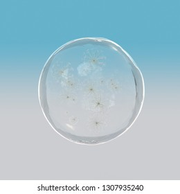 The particle dandylion in glass ball floating with 3d rendering.