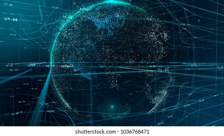 Particle emitting Earth globe over blue and green network grid and data connections. Business, technology, communications or social media background. Depth of field settings. 3D rendering.