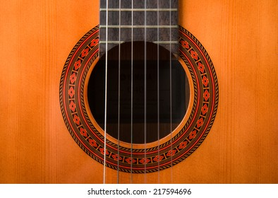 particular background of wood acoustic guitar with strings