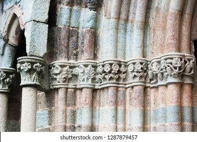Particular of decoration of Abbey of Saint Michel of the Benedictine monks on Mount Pirchiriano near Turin