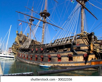 Particular of Neptune Galeon in the port of Genova italy