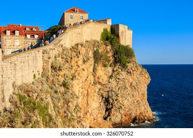 Particular View of city wall of old fortress in Dubrovnik, Croatia